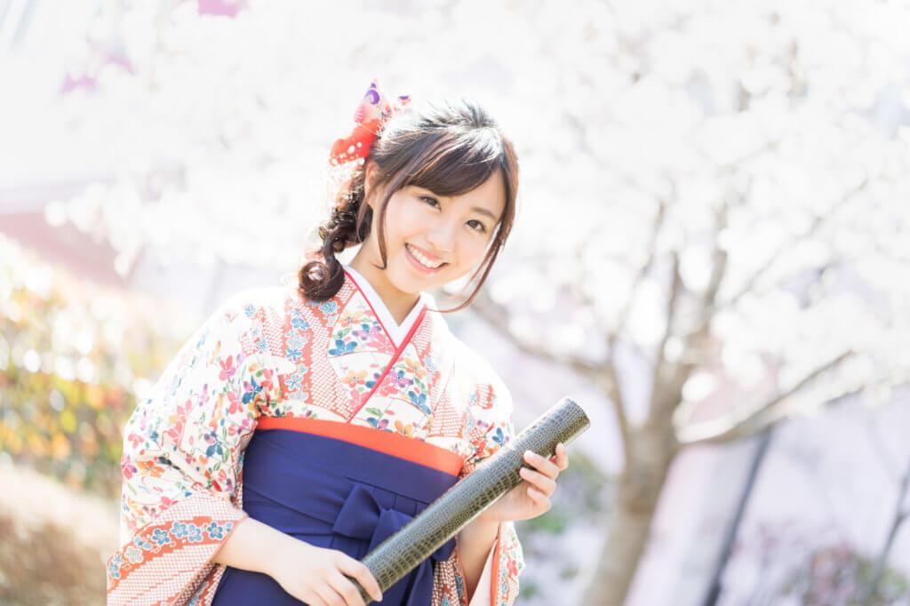 大学卒業式・学歴・袴・桜